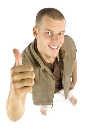 young man standing - looks satisfaction Stock Photo