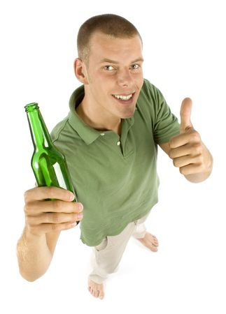 accredit: man with bottle of beer Stock Photo