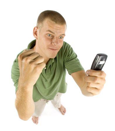sterbliche: junger Mann mit Zelle Telefon