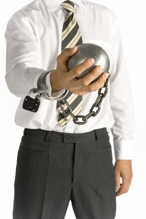 ball and chain: businessman with ball and chain