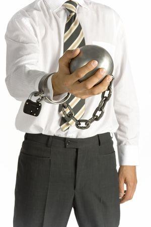 cadenas: hombre de negocios con bola y cadena