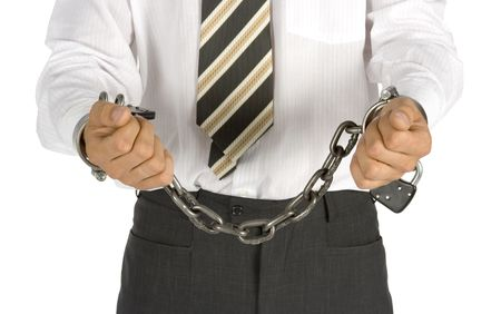 businessman with chains on his hands photo
