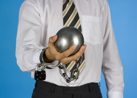 businessman with ball and chain photo