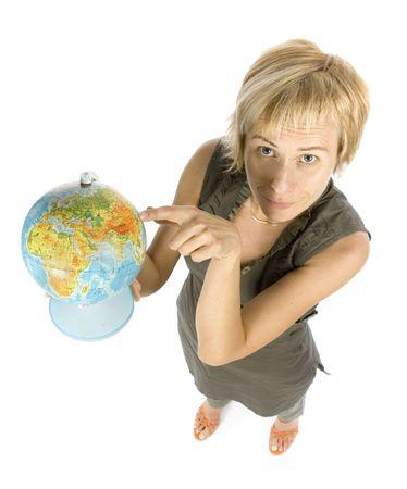 streifzug: Frau mit Globus Zeigeger�t  Lizenzfreie Bilder