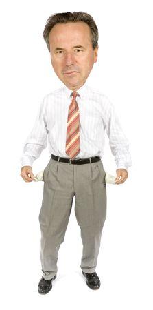 moneyless: caricature of moneyless boss Stock Photo