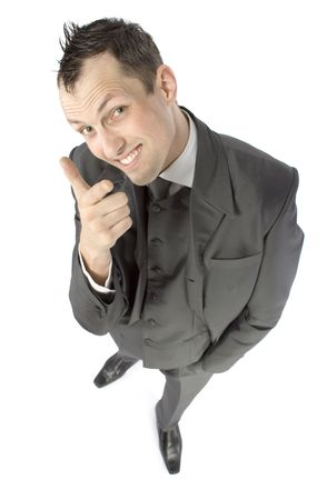 sneer: businessman pointing finger - looks sneer or satisfaction Stock Photo