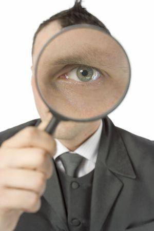 business concept - businessman with magnifying glass Stock Photo - 501735