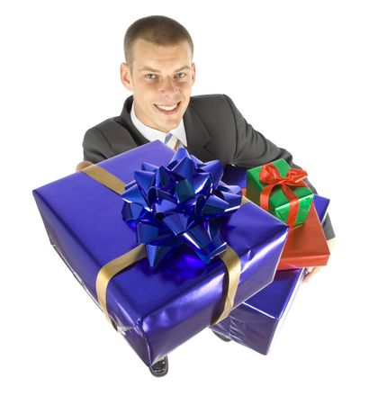gratuity: isolated man with gifts
