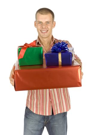 goodie: isolated father with gifts Stock Photo