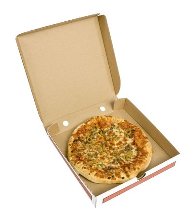 keen: isolated pizza in cardboard box