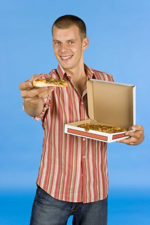 suggests: man suggests pizza - on the blue backgorund