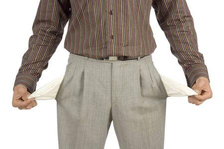 moneyless: moneyless man - business concept