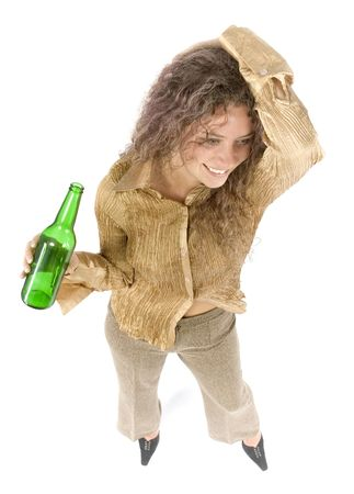 isolated woman with beer Stock Photo - 508936