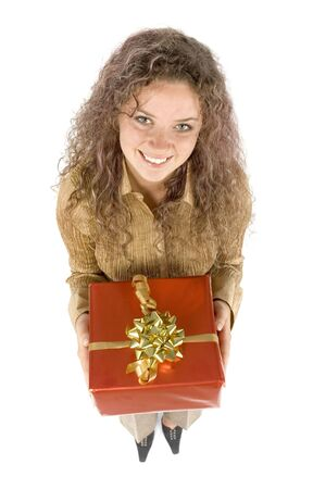 isolated woman with gift photo