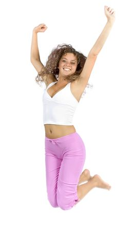 robustness: isolated jumping woman Stock Photo