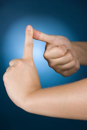 enumerate: womans hands counting - 1 Stock Photo