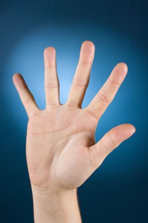 enumerate: womans hand counting - 5 Stock Photo
