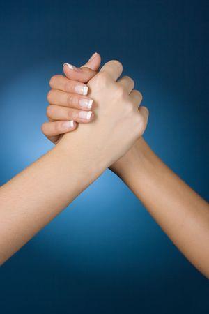 womans hands high five photo