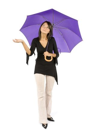 hideout: isolated woman with umbrella Stock Photo