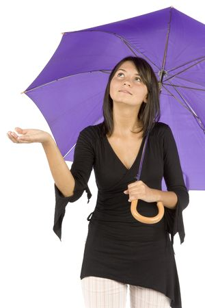 isolated woman with umbrella Stock Photo