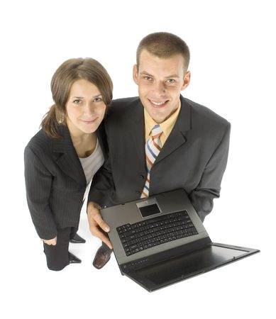 isolated business couple with laptop photo