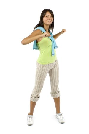 robustness: isolated sport dressed woman does exercise Stock Photo