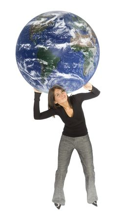 oppress: concept - woman carrying Earth (isolated) Stock Photo