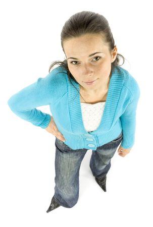 dissatisfaction: islated woman looks dissatisfaction Stock Photo