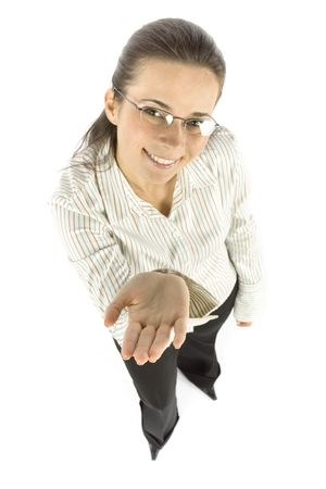 crave: isolated businesswoman shows hand
