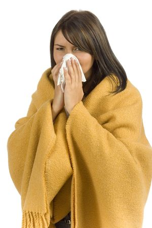 isolated ill woman with tissue Stock Photo - 537350