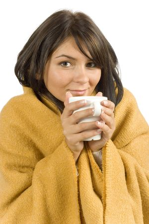 catarrh: isolated ill woman with hot cup