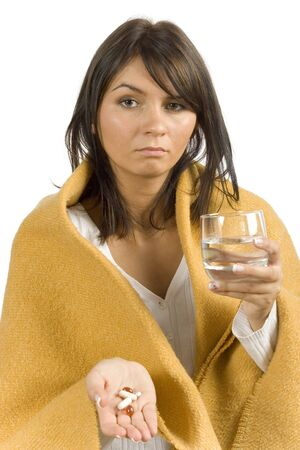catarrh: isolated ill woman with drugs Stock Photo