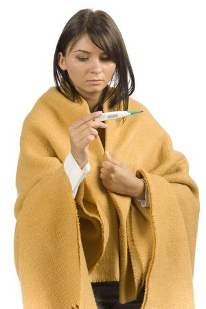shiver: isolated ill woman with clinical thermometer