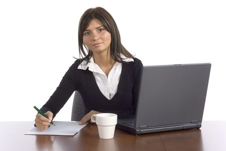 to clarify: female office worker isolated on white background
