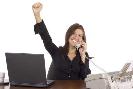 to clarify: isolated success businesswoman on the phone
