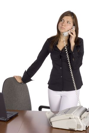 isolated irritated standing businesswoman on the phone Stock Photo - 536735