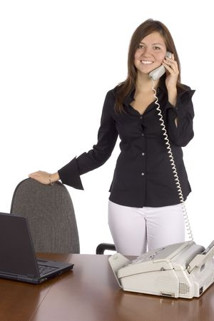 isolated standing businesswoman on the phone Stock Photo - 536733