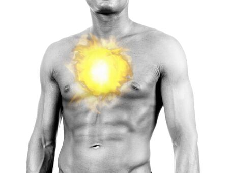 gripe: chest ache - digital composition with flames