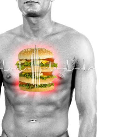 unhealth: unhealthy food reason of heart attacks - digital composition