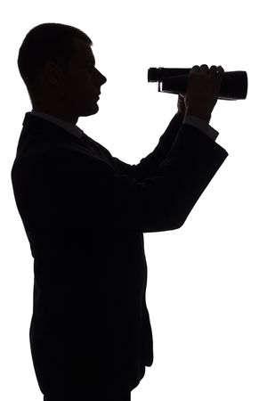 smartness: isolated on white silhouette of man with binoculars