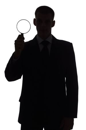 smartness: isolated on white silhouette of man with magnifying glass