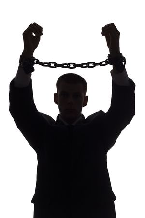 slave: isolated on white silhouette of man with chains