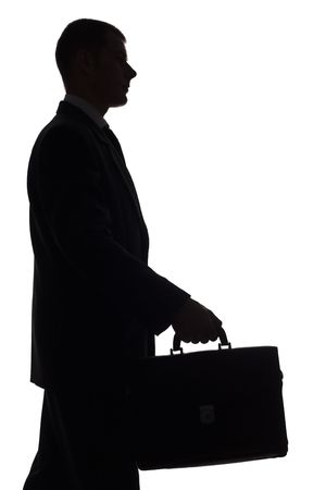 isolated on white silhouette of man with suitcase Stock Photo - 538754