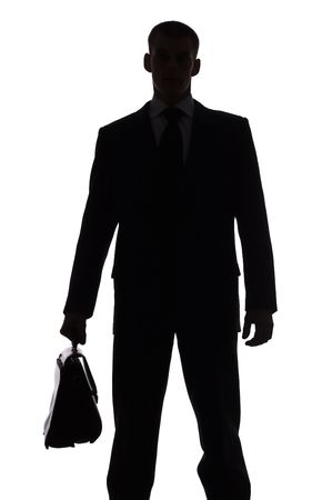 isolated on white silhouette of man with suitcase