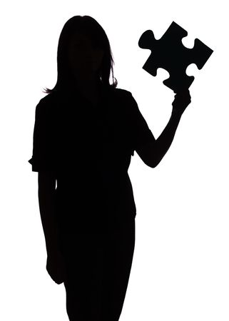 decipher: isolated on white silhouette of woman with puzzle