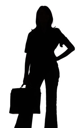 body concern: isolated on white silhouette of woman with suitcase