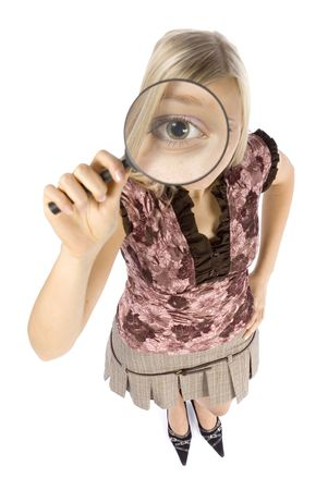 distinguish: isolated on white headshot of young blonde woman with magnifying glass
