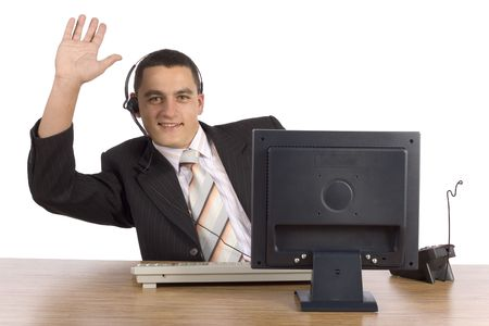 communicaton: isolated on white businessman at the computer Stock Photo