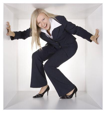 blonde screaming businesswoman in the white cube