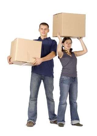man and woman (workers) standing with boxes Stock Photo